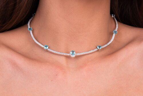 colar prata chocker cm detalhes azul